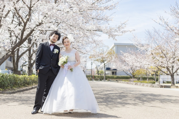 garden姫路フォトウエディング|桜と大手前公園で