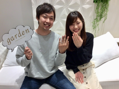 【姫路市】gardenオリジナルの婚約指輪とet.luの結婚指輪をご成約頂きました