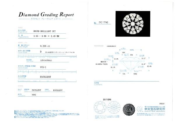 最高峰のダイヤモンドを証明するための中央宝石研究所の鑑定書
