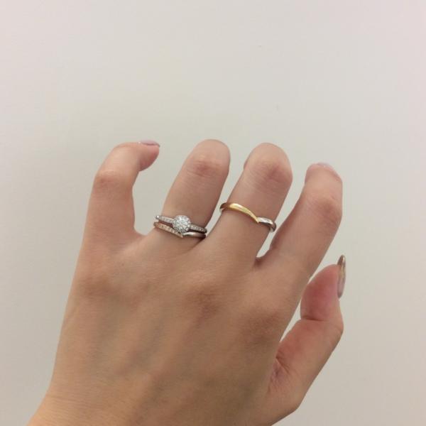 結婚指輪,婚約指輪,重ね付け