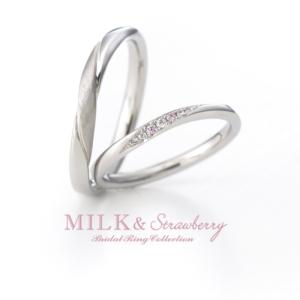 Milk&strawberryのリングご成約でPt950&メレダイヤをH&Cにグレードアップ♪内側誕生石一石プレゼント♪