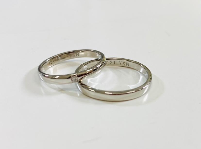 ダイヤ1石デザインの手作り結婚指輪