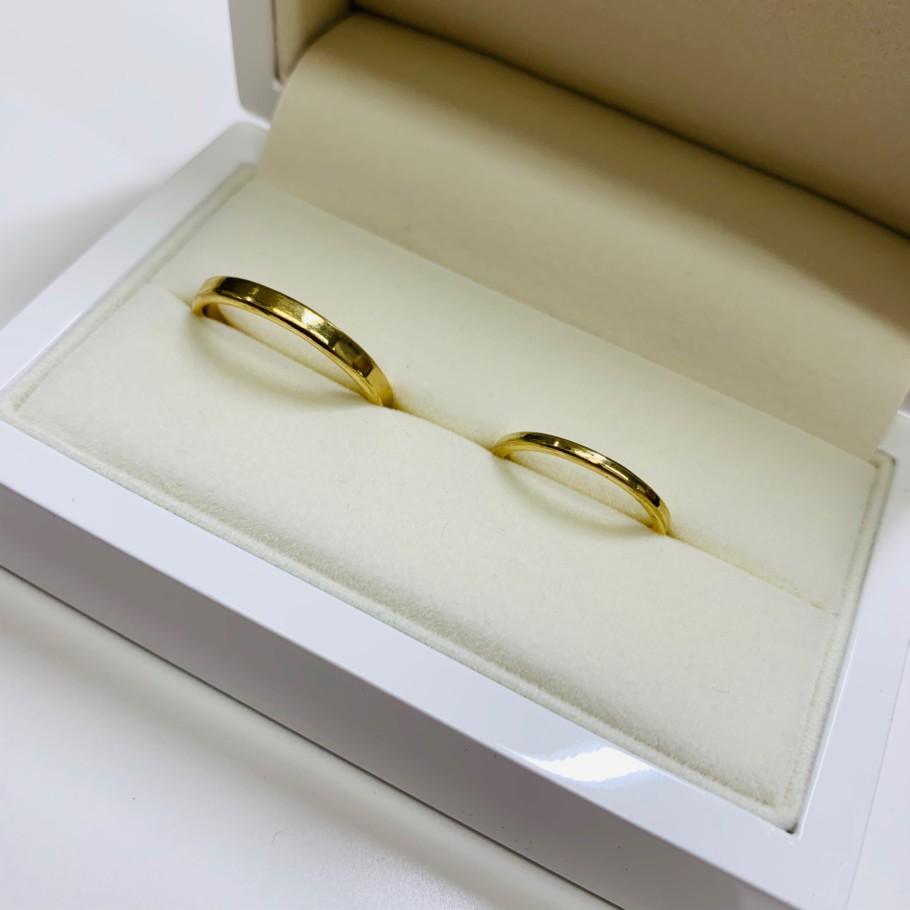 K18YGの手作り結婚指輪