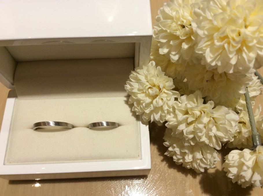 ヘアライン加工の手作り結婚指輪